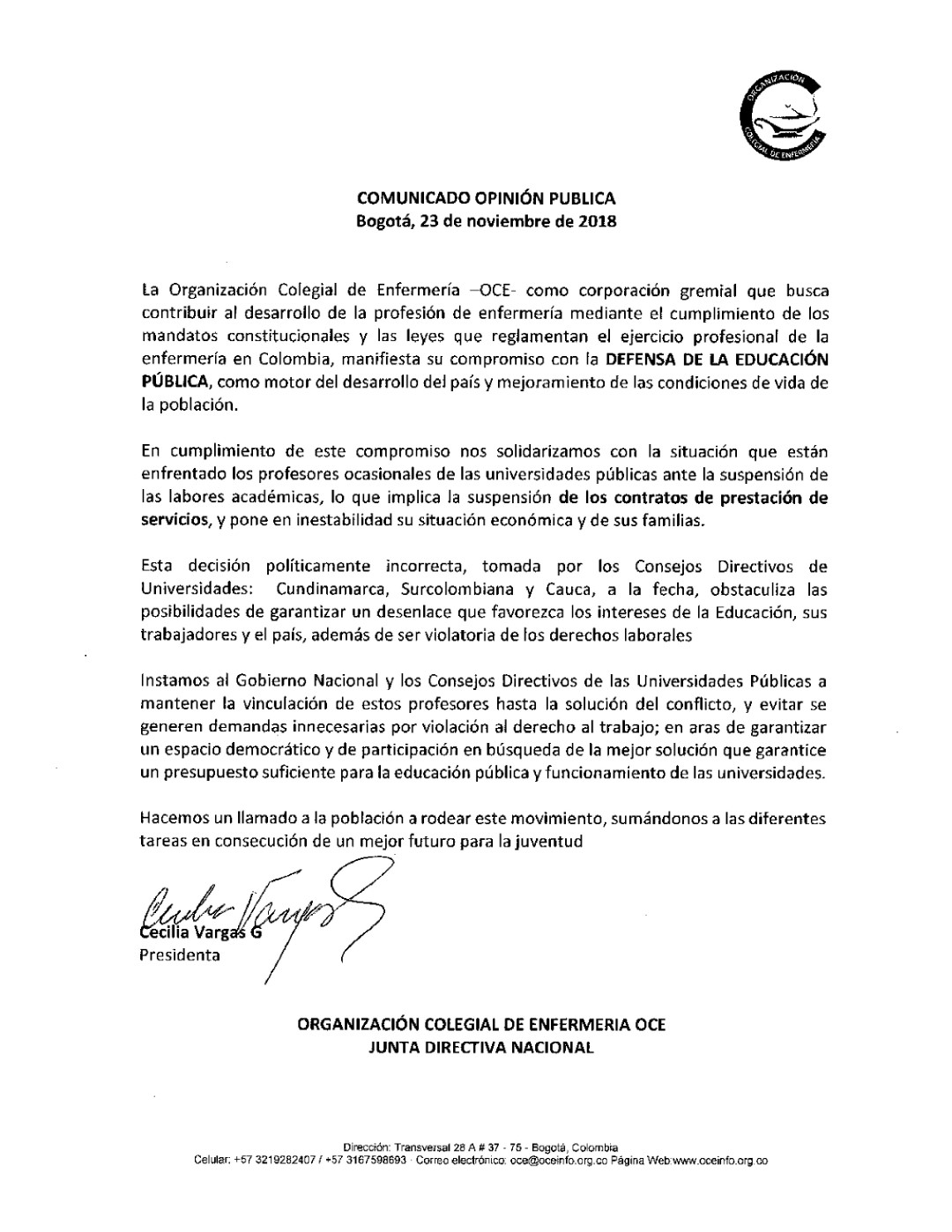2018 11 23 COMUNICADO OPINION PUBLICA 23NOV